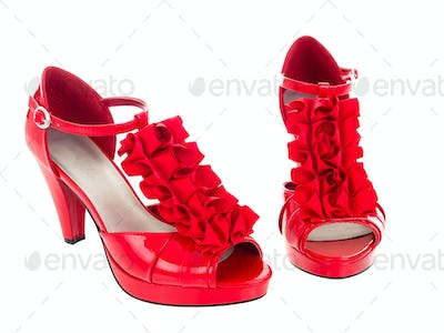 Red ruffles high heels isolated pure white background