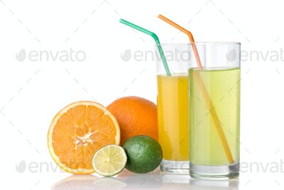 orange and lime juices with orange and lime isolated on white