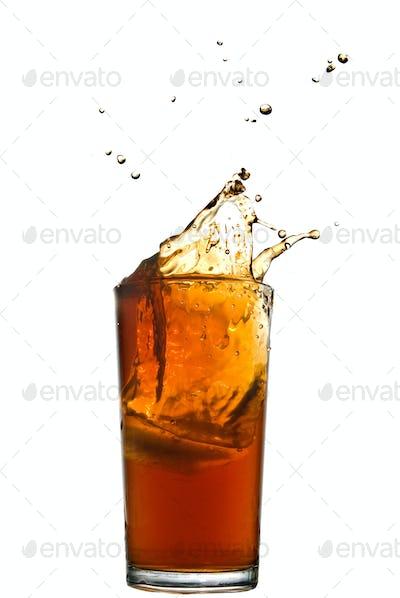 splash of cola isolated on white