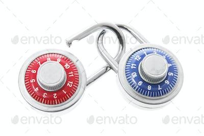 Combination Locks on White Background