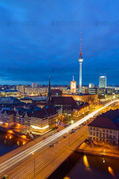 Downtown Berlin at night