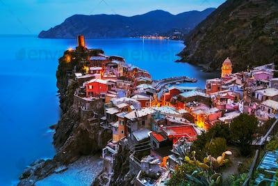Vernazza village, aerial view on sunset. Cinque Terre, Ligury, I