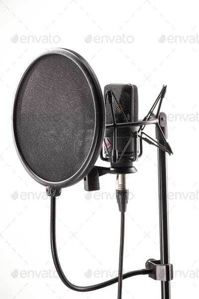 Microphone in broadcasting station
