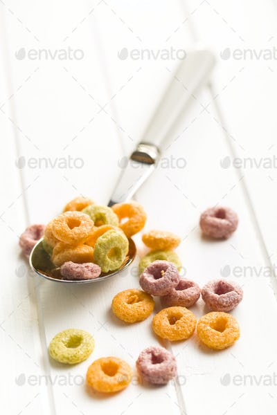 colorful cereal rings in spoon