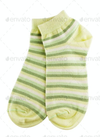 Green and white striped socks