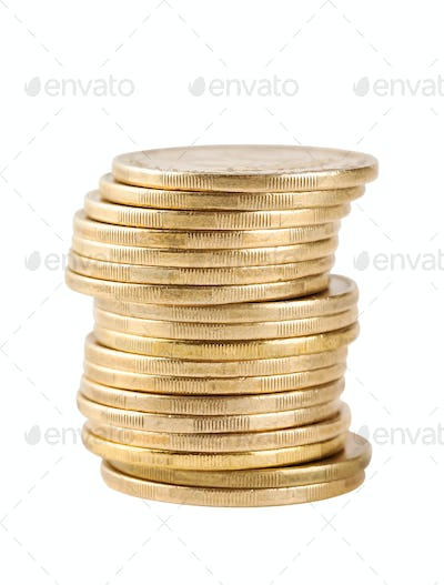Column coins shot with focus on foreground