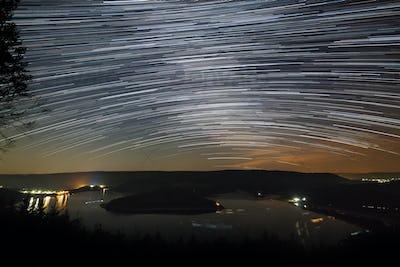 Star Trails Above Lake