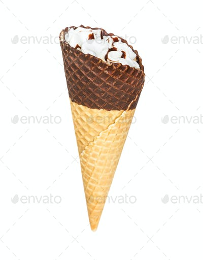 Ice cream cone with chocolate