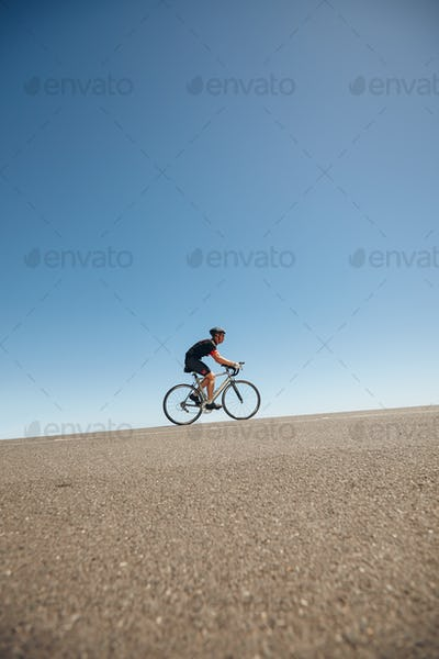 Athlete training for cycling event of triathlon
