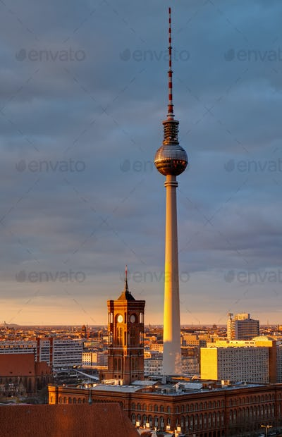 The Television tower at sunset