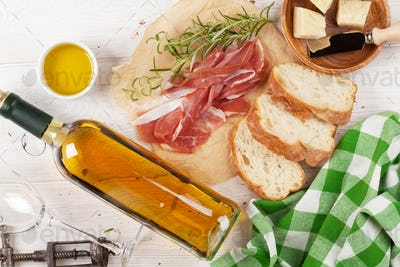 Prosciutto, wine, ciabatta, parmesan and olive oil
