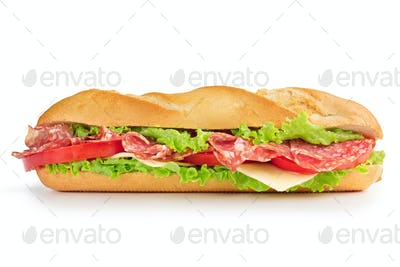 salami sandwich isolated on white