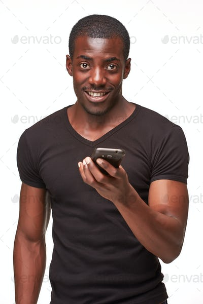 Portrait of african man talking on the phone