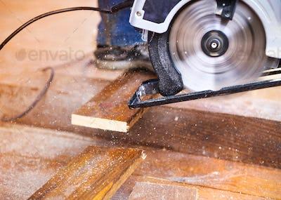 Grinding machine left on floor