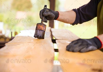 Workers hand varnishing wooden plank