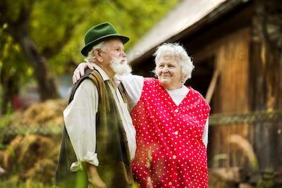Senior couple on farm
