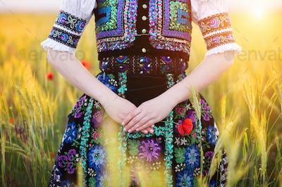 Detail of woman dress in sunlight