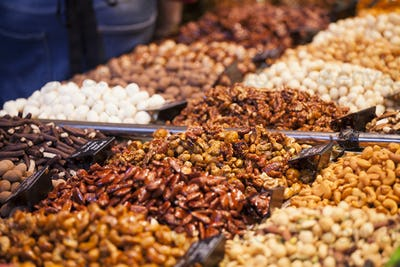 Nuts and almonds in the market