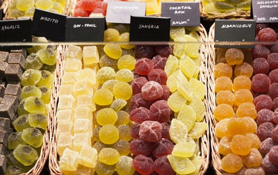 Various jelly candies at the market