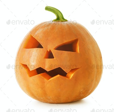 Halloween Pumpkin. Scary Jack O'Lantern isolated on white