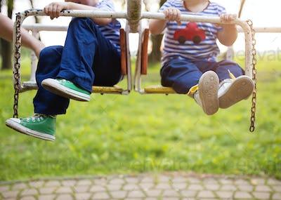 Boys on carousel