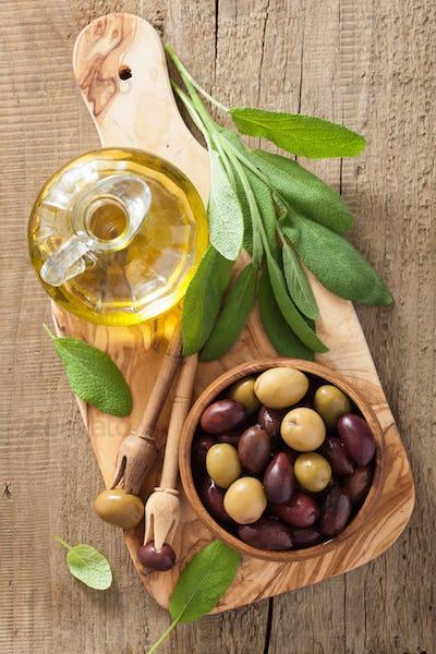 black and green marinated olives oil sage leaf