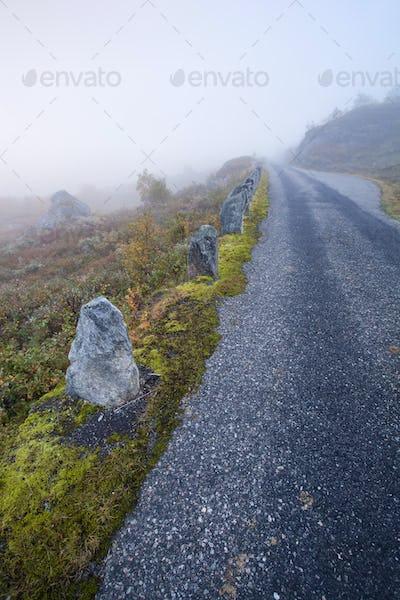 Foggy road in Norway Gamle Strynefjellsvegen