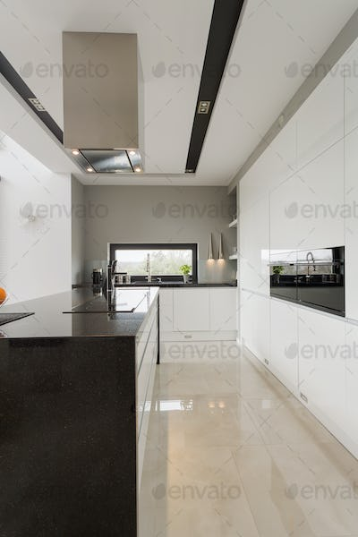Marble floor in kitchen