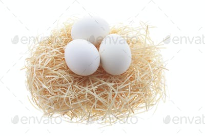 White Eggs on Straw Nest