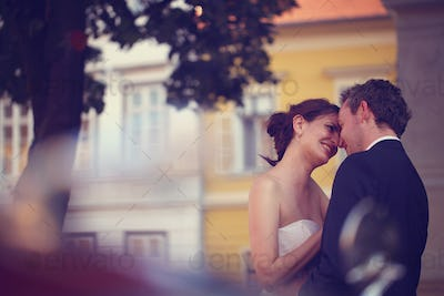 Romantic bride and groom in the city