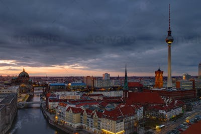 The center of Berlin at dawn