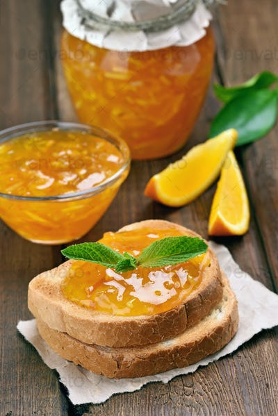 Orange jam on toast