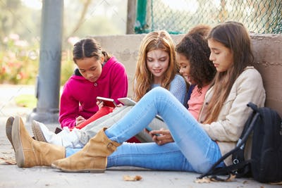 Young Girls Using Digital Tablets And Mobile Phones In Park