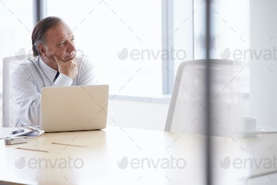 Senior Businessman Working On Laptop At Boardroom Table
