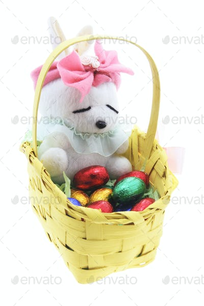 Soft Toy Easter Bunny with Basket of Easter Eggs