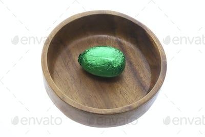 Easter Egg in Wooden Bowl
