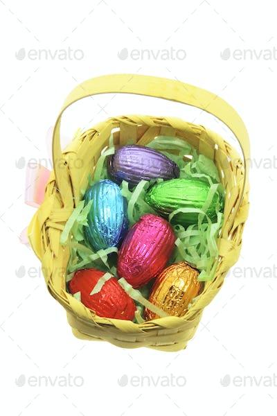 Easter Egg in Bamboo Basket