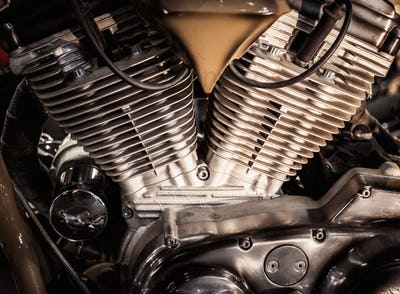 Close-up of a motorcycle engine