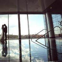 Bride and groom at pool