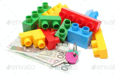 Colorful building blocks for children with home keys and money