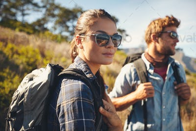 Couple on hiking trip  in countryside