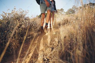 Couple hiking on mountain