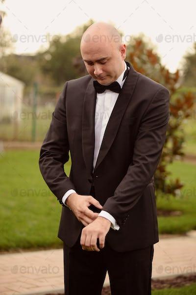 Groom preparing to meet his bride