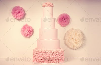 pink marzipan wedding cake