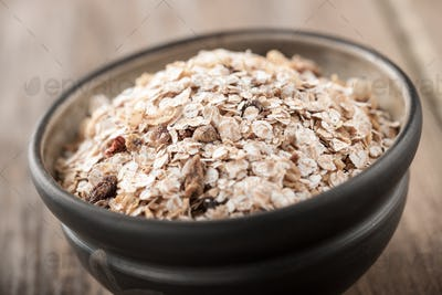 Organic muesli in a bowl