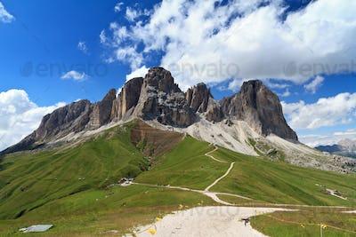 Sassolungo mount from Fassa valley
