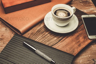 Luxurious businessman tools on a wooden table