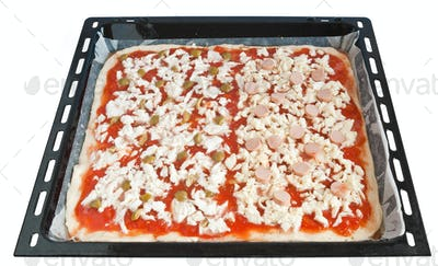 baking pan with pizza