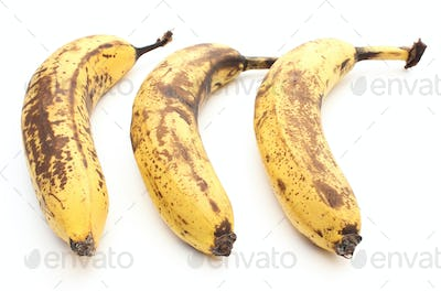 Three old and overripe bananas on white background