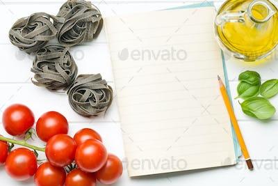 blank notepaper and ingredients